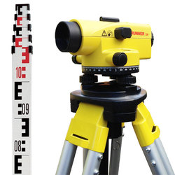 Runner 24 Automatic Optical Level Package - Includes Leica Aluminium Tripod & 5m 5 Section Telescopic Staff